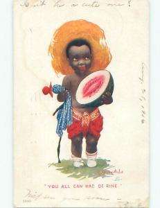 Pre-1907 black americana RACIST SIGNED - BOY WITH WATERMELON W7092