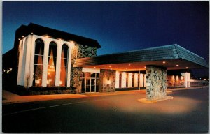 Oklahoma City Postcard AIRPORT HILTON INN WEST Night View I-40 Roadside c1970s