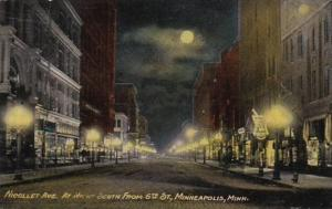 Minnesota Minneapolis Nicollet Avenue At Night Looking South From 6th Street ...