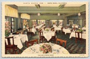 Santa Maria CA~Santa Maria Inn~Dining Room Interior~Flowers on Tables~1933 Linen
