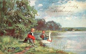 ?Vintage Postcard 1906 Children Boy & Girl Playing in a Lake Water Swan Artwork