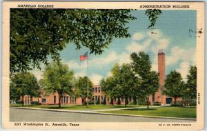 Amarillo, Texas Postcard AMARILLO COLLEGE Admin. Bldg. View Linen 1953 Cancel