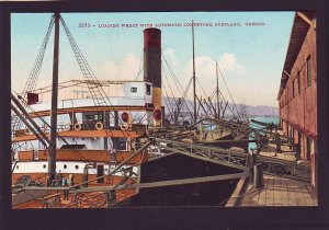 P1667 vintage unused postcard load wheat w/conveyors on ship portland oregeon