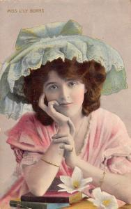 Lovely Lady~Miss Lily Burns Theatre Actress~Pink Dress~Big Mint Green Hat~1912