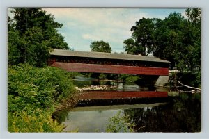 Bennington VT-Vermont, Old Henry Bridge, Walloomsac River, Chrome c1977 Postcard