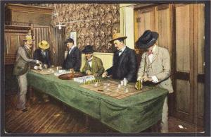 Roulette Game Gambling in the West $20,000 in Gold Postcard by Rieder c.1907
