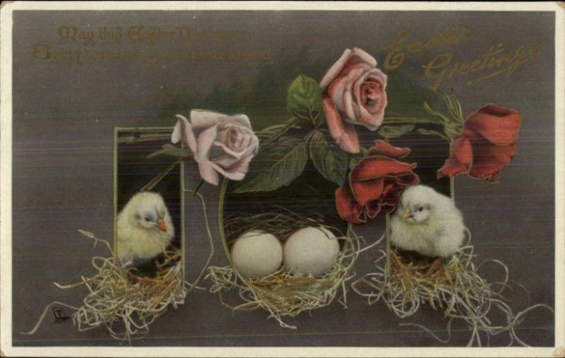 Easter Chicks & Roses TUCK Gem E3647 c1910 Postcard