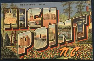 Postcard Linen Unused High Point NC LB