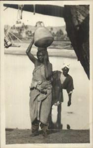 Nubian Black Woman Water Jug on Head Africa Ethnography c1915 RPPC
