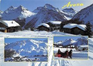 Switzerland Inner-Arosa Winter General view Mountains Horse Carriage Ride