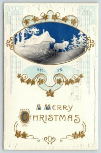 Christmas~Horse Drawn Sleigh~Blue Night~White Emboss~Gold Art Nouveau~Airbrushed