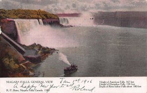 Niagara Falls, General View, Canadian Souvenir Postcard, Used in 1906