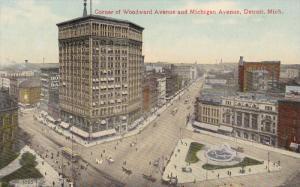 DETROIT, Michigan, 1900-1910's; Corner of Woodward Avenue and Michigan Avenue