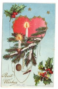 Vintage Christmas Postcard 1906 Heart Gold Stars Candles Embossed Robbins Boston