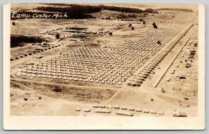 Battle Creek Camp Custer Michigan~Birdseye Encampment~Tents~Barracks~1923 RPPC