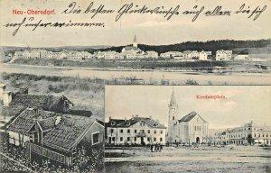 NEU OBERNDORF bei SALZBURG AUSTRIA~TOTALANSICHT + KIRCHENPLATZ  PHOTO POSTCARD