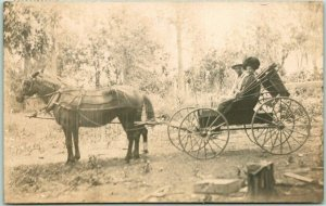 ALLEN, Nebraska RPPC Real Photo Postcard Couple in Horse Cart / 1910 NE Cancel