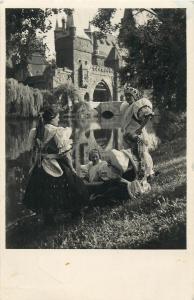 Hungary 1930s RPPC girls from Boldog before the Vajdahunyad castle