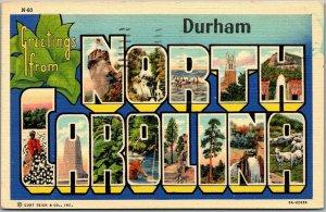 DURHAM, NORTH CAROLINA Large Letter Postcard Curteich Linen w/ 1940 Cancel