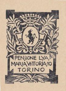 Italy Torino Pensione Lya Maria Vittoria Vintage Luggage Label sk1711