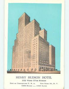 Unused 1950's HENRY HUDSON HOTEL Manhattan New York NY Q5535