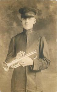 C-1910 Young Man Uniform Trumpet Musicians Dives Pomeroy Stewart RPPC 3281