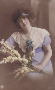 RP: Portrait of woman wearing Lilac gown holding bouquet of flowers, 1900-10s