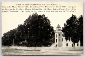 St Marys Georgia~First Presbyterian Church Still Nestled in Trees~1907 B&W PC