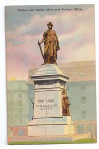 Soldiers and Sailors Monument Portland ME 1947 Linen