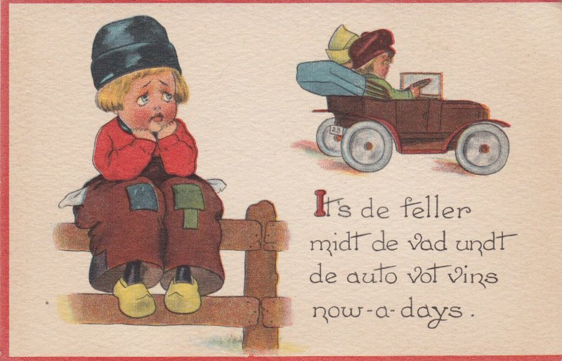 Dutch Boy , 1900-10s; It's de feller midt de vad undt de auto vot vins nowadays
