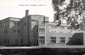 Grinnell Iowa~Grinnell College~Cowles Hall~1940s B&W Postcard