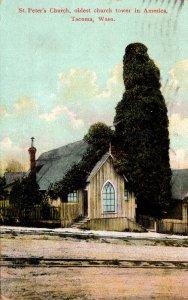 Washington Tacoma St Peter's Church Oldest Church Tiower In America 1909