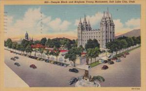 Utah Salt Lake City Temple Block and Brigham Young Monument 1949 Curteich