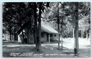 RPPC  AU TRAIN, Michigan MI Birches Cottage PERRY'S RIVERSIDE RESORT   Postcard