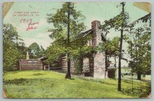 Louisville Kentucky~First Log Cabin~Vintage Postcard