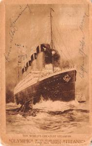 Titanic Ship Post Card Old Vintage Antique Olympic and Titianic Pre Sinking A...