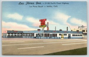 Malibu California~Las Flores Inn & Cafe~Fish House~Swordfish Sign~1940s Linen PC