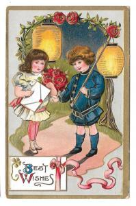 Best Wishes Children Boy Girl Roses Paper Lanterns Postcard