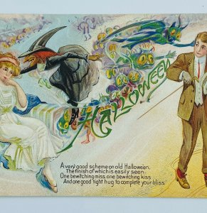 Witch Flying Halloween Goblins Ghouls Bliss Couple Embossed Vintage Postcard
