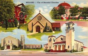 Texas Midland City Of Beautiful Churches Multi View Curteich