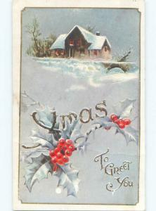Divided-Back CHRISTMAS SCENE Great Postcard W9615