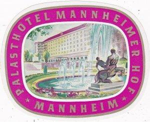 Germany Mannheim Palasthotel Mannheimer Hof Vintage Luggage Label sk3280