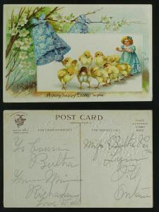 Easter  chicks and bells of violets c 1910