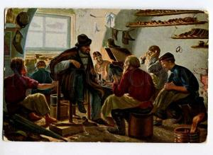262454 RUSSIA Bashilov shoemaker workshop Vintage postcard