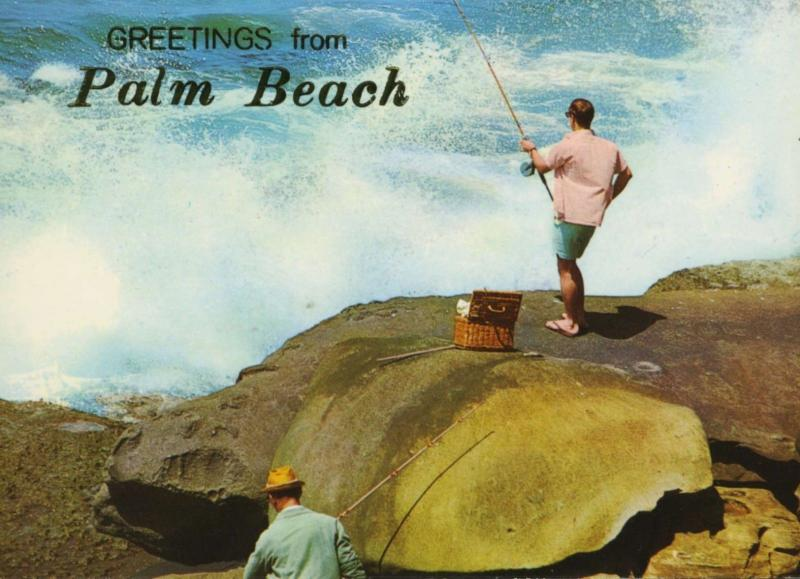 Greetings From Palm Beach Australia Fishermen Rock Fishing Unused Postcard D28