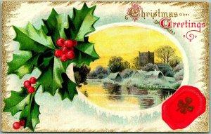 Vintage CHRISTMAS GREETINGS Embossed Postcard Winter Scene / Holly c1910s