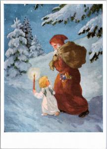 Santa and Angel - Hannes Peterson Christmas Ghost - German postcard