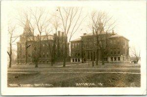 JEFFERSON, Iowa RPPC Real Photo Postcard HIGH SCHOOL BUILDINGS 1913 Cancel