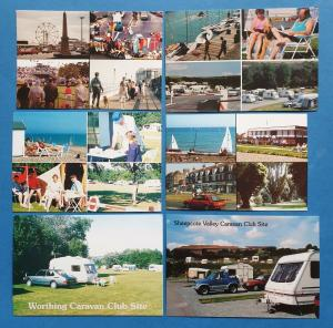 Set of 6 New Old Stock Sussex Postcards, Worthing, Brighton, Goring By Sea 40N