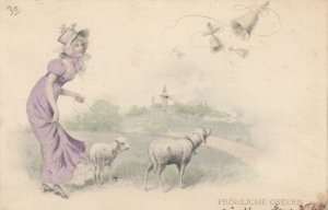 AS; M.M. VIENNE; Woman in purple dress walking sheep, PU-1901